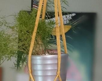 Vintage Harvest Gold/Yello Macramé Plant Hanger/ Acrylic Yarn/ Handmade