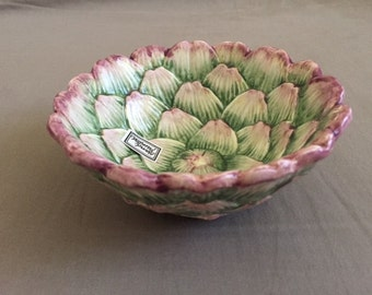 Vintage Fitz and Floyd Hand Painted Artichoke Shape Bowl