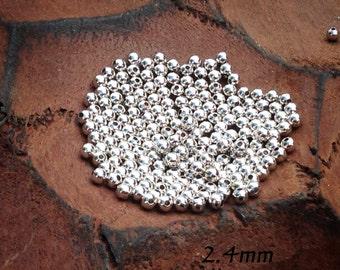 Silver brass 2.4mm, 200pc round loose bead