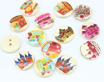 Wooden Fairy Castle Buttons - Set of 10 Fairytale Crafting Sewing Buttons