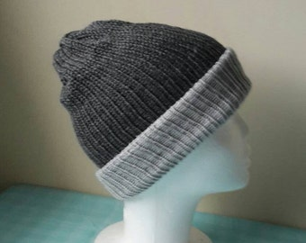 SALE - Mens Beanie Hat - Beanie Hat - Mens Winter Hat - Winter Beanie Hat  - Two Tone Grey Beanie Hat by MakeLikeAGinger.