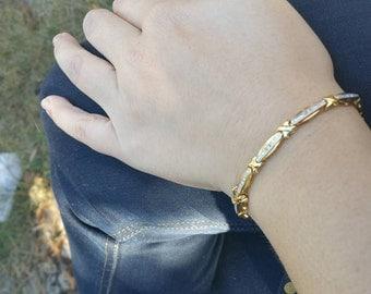 Vintage sterling silver gold plated diamond chip bracelet