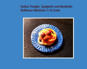 Dollhouse miniature 1:12 Scale Plate of Spahetti and Meatballs