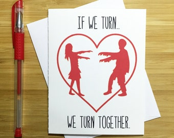 The Walking Dead Card, Walking Dead Gift, Cute Love Card, Zombie Love, Anniversary Cards, Zombie Apocalypse, Romantic Card, Just Because