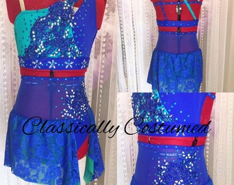 Dance Costume ,Royal Blue and Turquoise Lyrical Dance Costume, 2 piece Dance Costume,