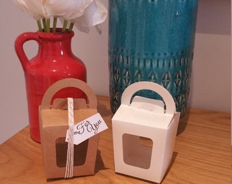Kraft Paper Favour, Candy/Lolly Boxes with Handle Pk10