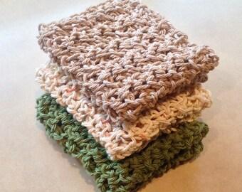 Cotton Crochet Dishcloth Washcloth, Set of 3, Neutral, Green, Sage green, Tan, Ready to Ship