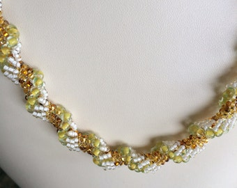 Dutch Spiral Necklace,  Green/Lime seed beads