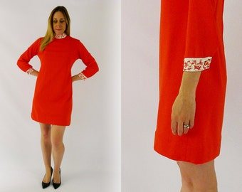 70's Orange Mod Dress Small