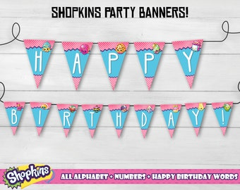 Shopkins banners, Shopkins party banners, Shopkins decorations, Shopkins pennants, Shopkins happy birthday banners!