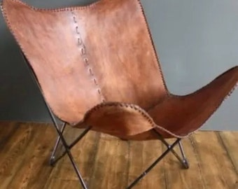 hand made butterfly chair leather chair rich medium brown