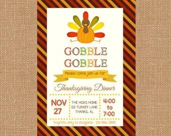 Thanksgiving Dinner Invitation - Thanksgiving Invitations - Thanksgiving Invites - Printable Invitations - Turkey Invitation-FREE SHIPPING