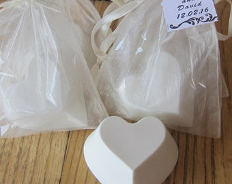Heart Shaped Scented Goat's Milk Soap: Wedding and Party Favors - SET of 10 with Ivory Organza Bag and Customized Tag
