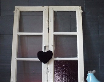 1900 double-casement window / French window with 6 tile vintage