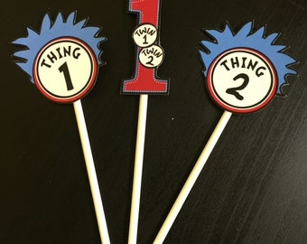 Dr. Seuss Thing 1/Thing 2 Cupcake Toppers (6), Dr. Seuss Party, Dr. Seuss Shower, Dr. Seuss Birthday