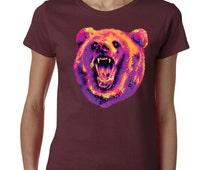Wild Bear California Republic Tshirt Cali Life West Coast Tee California Flag Bear Republic Ladies Tshirt