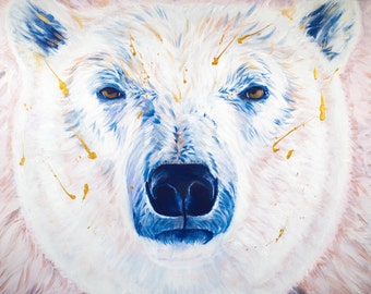 Polar Bear Print, Wall Art, Blue, Gold, Nursery Art, 12x16, Willow Branch Studio, Gift for her, Children