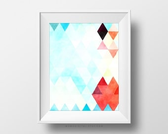 SALE -  Geometric Triangles, Watercolor, Cyan Coral Red, Cloudy Pattern, Triangle Pattern Poster, Baby Nursery, Kid Children Decor