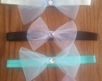 Baby tulle bow headband