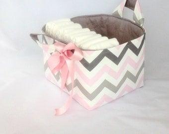 Pink grey chevron diaper caddy, large nappy caddy, diaper organiser, Scandi style nursery, baby gift, diaper basket,, change table storage,