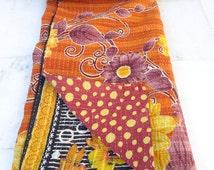 Indian Handmade Quilt Vintage Twin Kantha Bedspread Throw Cotton Blanket 1164 BY artisanofrajasthan
