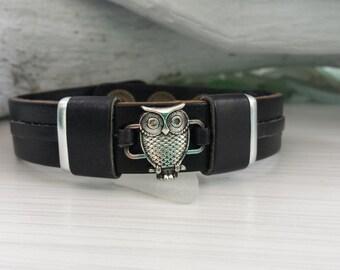 Owl in Black Leather Bracelet