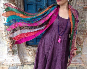 Scarf made from Upcycled Silk Saris from India - Boho-Chic scarf:  Gifts for Her // Gifts for Him //  Gift Ideas // Sari Scarf // Silk Scarf