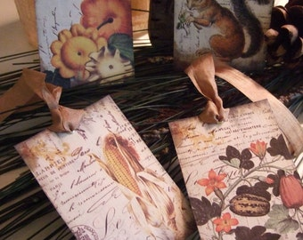 FOUR French Botanical Fall Harvest Thanksgiving Hang / Gift Tags