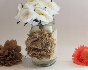 Decorated Mason Jar Vase, Quart Mason Jar, Wedding Centerpiece, Burlap Flower, Rustic Wedding Decor