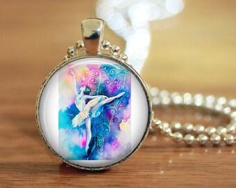 Dance, Dance Jewelry, Dance Necklace, Dancer, Dancer Gift, Dance Teacher, Gift, Dance Pendant, Ballet, Water Paint, Water Paint Dancer