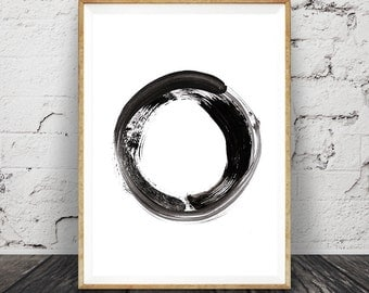 Contemporary Art, Brush Stroke Circle Print, Black White Abstract Wall Art, Printable Modern Minimal Ink Painting, Home Decor, Scandinavian