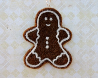 Large Gingerbread Man Ornament, Christmas Tree Decoration, Needle Felted Wool, Ready to ship