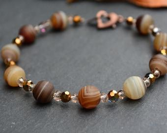 Brown banded agate beaded bracelet