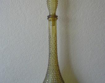 Vintage Mid Century Modern Amber Glass Genie Bottle Decanter