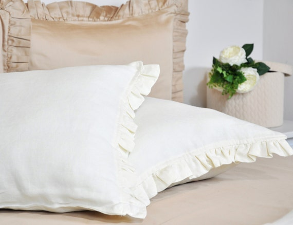 Linen ruffle pillowcase set of 2 ivory cream ruffled pillow for How big are king size pillows