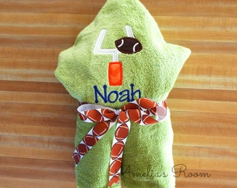 Football Hooded Towel - Children's Towel, Hooded Towel, Football and Goal Towel, Personalized, Applique, Kids Hooded Towel, Football Towel