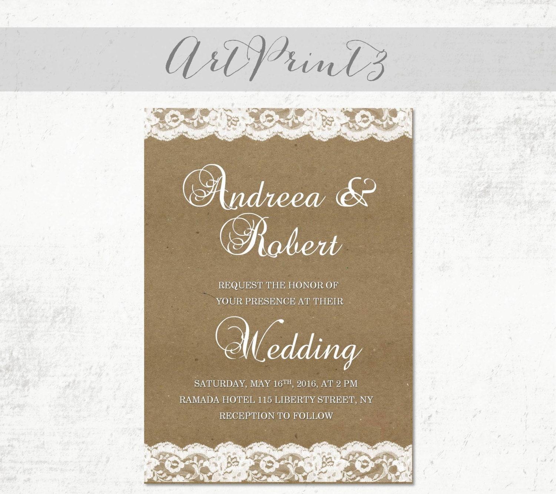 Rustic wedding invitation printable tan paper wedding zoom monicamarmolfo Choice Image