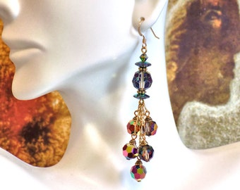 Chandelier Earrings with Swarovski VM Vitrail Medium Crystal Beads, 5 Dangles, Gold-Filled French Earwires