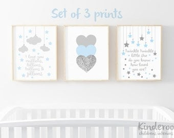 Pastel Blue, Grey and Silver Glitter Set    Baby Boy Nursery   Star, Heart and Cloud Prints   Set of 3
