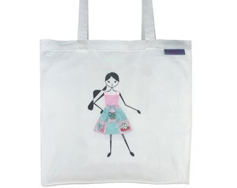 SALE !!! - Tote Bag,  Library Bag, Shopping Bag - Girl with Pink & Blue Dress
