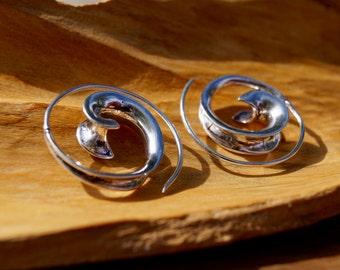 Flowing Curl Spiral Earrings Silver, Boho Spiral Earrings