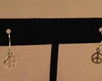 Sterling Silver Peace Sign Earrings