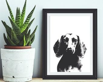 The Alfred - Dachshund art print, Dachshund, Dachshund Print, Dachshund Art, Dachshund Poster, Dog Print, Dog Art, Dog Poster, Sausage Dog