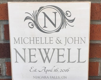 """Rustic Wood Sign - Family Name with Monogram - 12"""" x 12"""""""