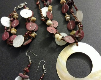 Multi-Strand Necklace and Bracelet w/matching Earrings