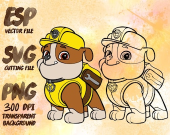 Rubble Paw Patrol Clipart , SVG Cutting , ESP Vectors files , T shirt , iron on , sticker ,Personal Use