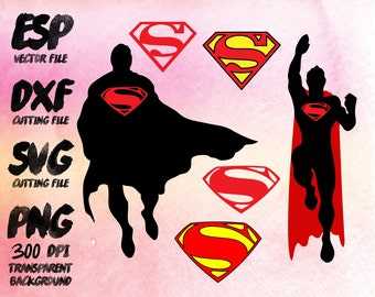 Superman  Clipart , SVG Cutting , ESP Vectors files , T shirt , iron on , sticker ,Personal Use