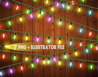 Christmas Lights party Clipart, Digital Download ,Quotes Scrapbooking, Supplies, Vectors files ,Personal Use