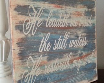 Wood Sign,Psalm 23, Shabby Chic, Wall Decor, Inspirational, God, Verse  Sign, Faith Sign, Spiritual, 12x12x1