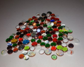Lots Of Miscellaneous Vintage Gems and Marbles , Most Are Foil Wrapped With Copper  / Sun Catcher / mosaics / Glass Art / Stained Glass